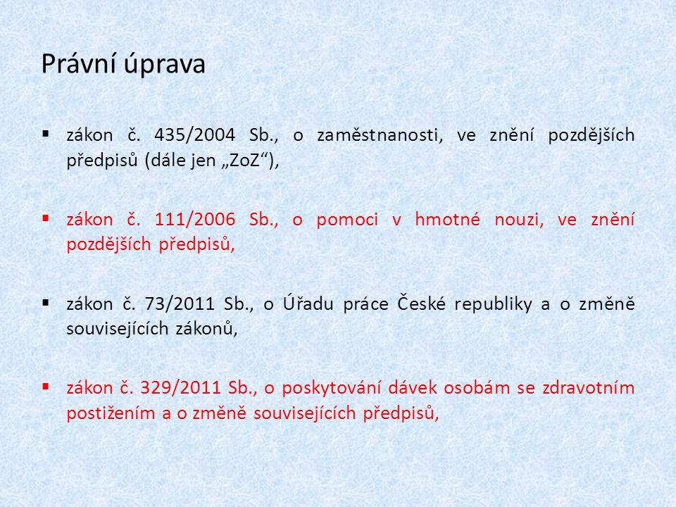 """Právní úprava  zákon č. 435/2004 Sb., o zaměstnanosti, ve znění pozdějších předpisů (dále jen """"ZoZ""""),  zákon č. 111/2006 Sb., o pomoci v hmotné nouz"""