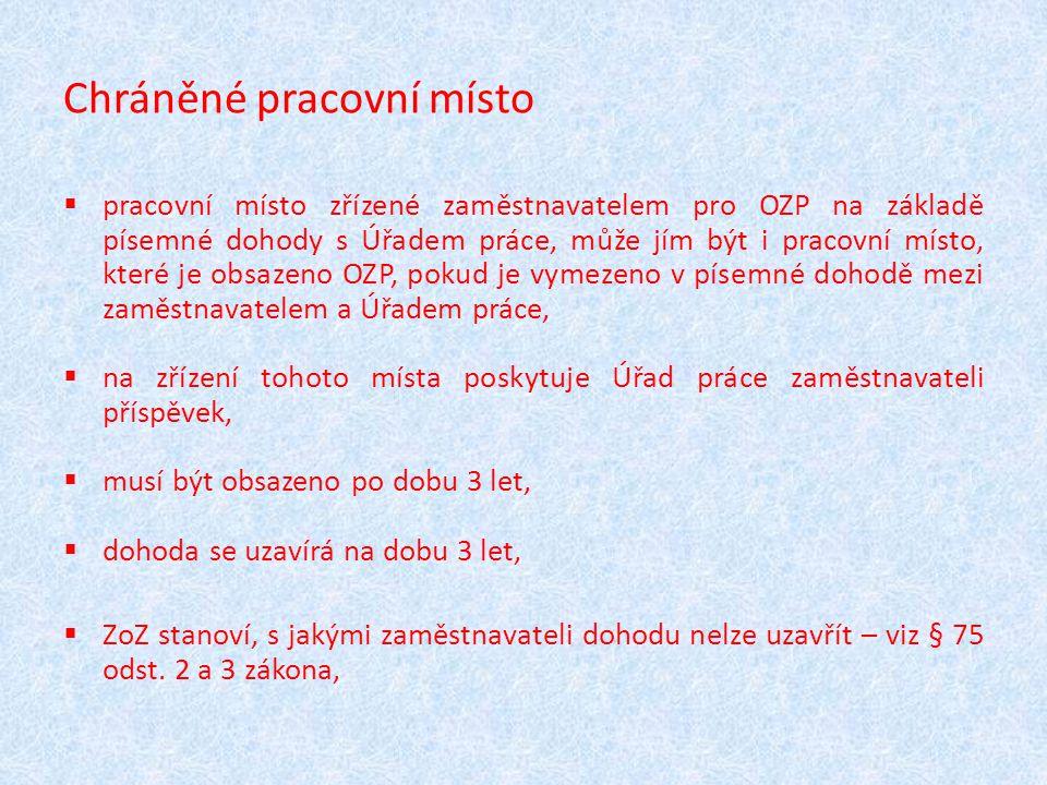 Chráněné pracovní místo  pracovní místo zřízené zaměstnavatelem pro OZP na základě písemné dohody s Úřadem práce, může jím být i pracovní místo, kter