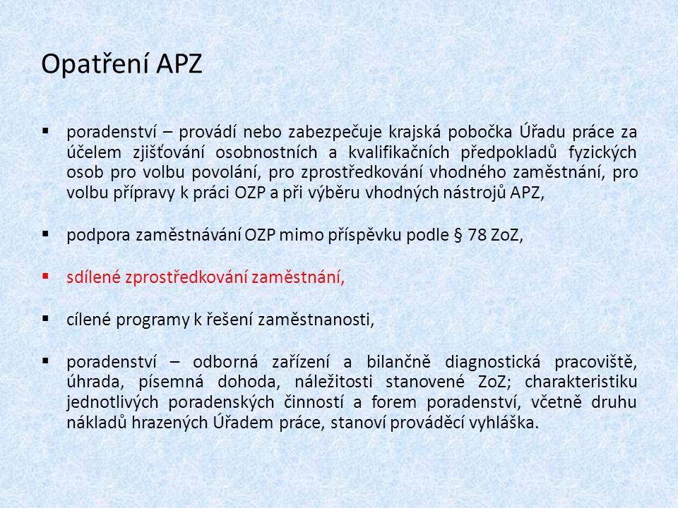 Opatření APZ  poradenství – provádí nebo zabezpečuje krajská pobočka Úřadu práce za účelem zjišťování osobnostních a kvalifikačních předpokladů fyzic