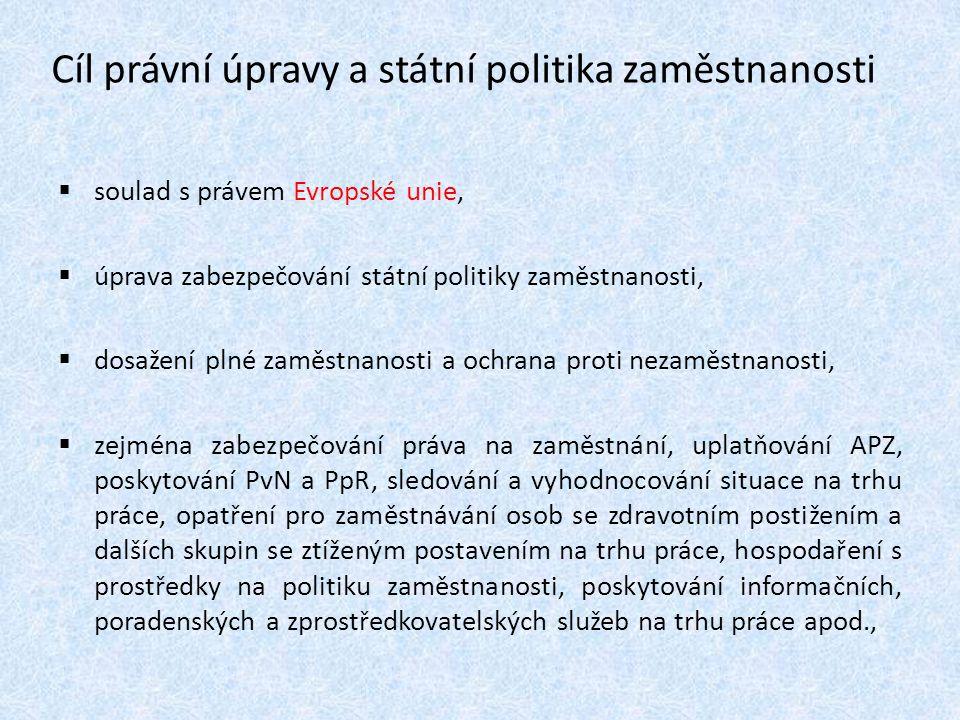 Cíl právní úpravy a státní politika zaměstnanosti  soulad s právem Evropské unie,  úprava zabezpečování státní politiky zaměstnanosti,  dosažení pl