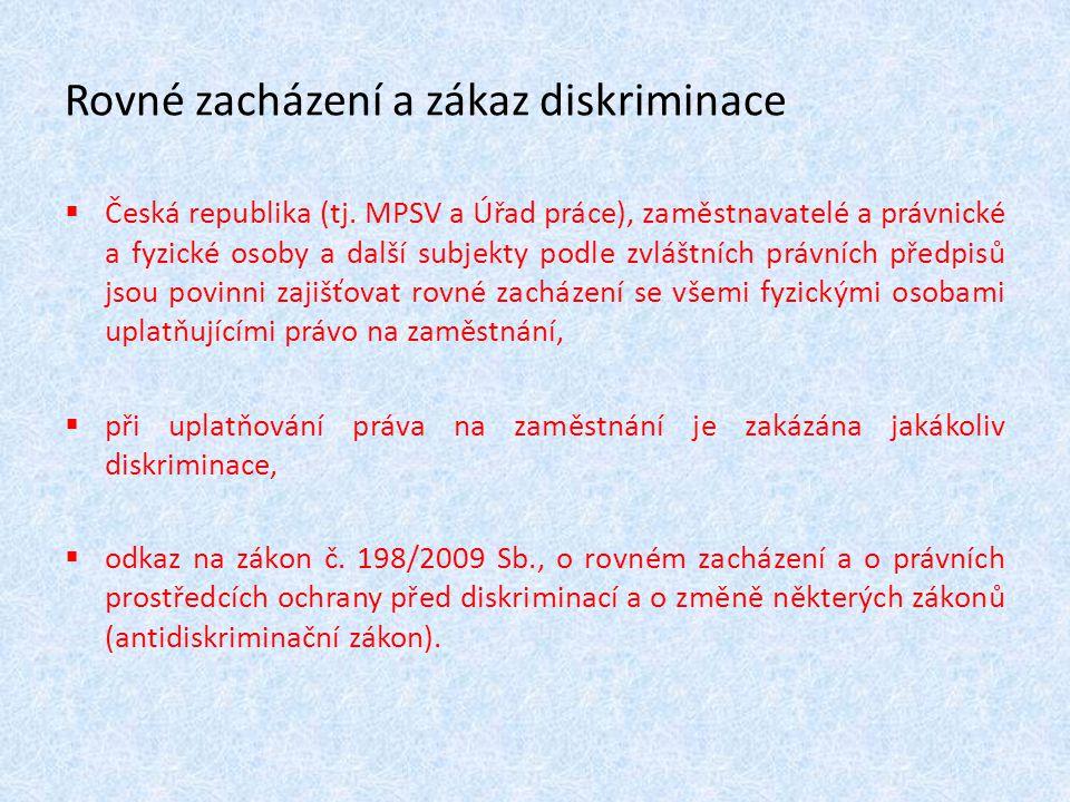 Rovné zacházení a zákaz diskriminace  Česká republika (tj. MPSV a Úřad práce), zaměstnavatelé a právnické a fyzické osoby a další subjekty podle zvlá