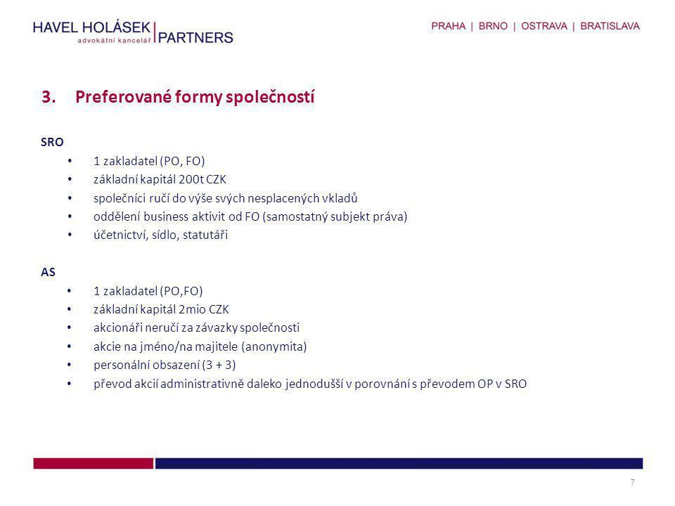 SRO • 1 zakladatel (PO, FO) • základní kapitál 200t CZK • společníci ručí do výše svých nesplacených vkladů • oddělení business aktivit od FO (samosta
