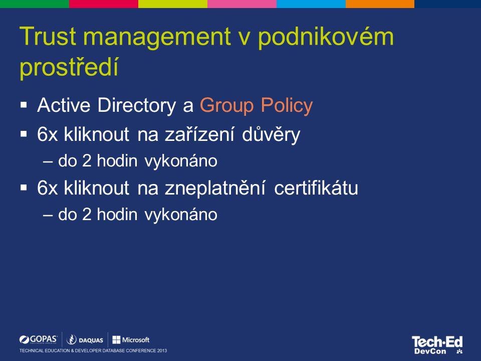 Trust management v podnikovém prostředí  Active Directory a Group Policy  6x kliknout na zařízení důvěry –do 2 hodin vykonáno  6x kliknout na zneplatnění certifikátu –do 2 hodin vykonáno