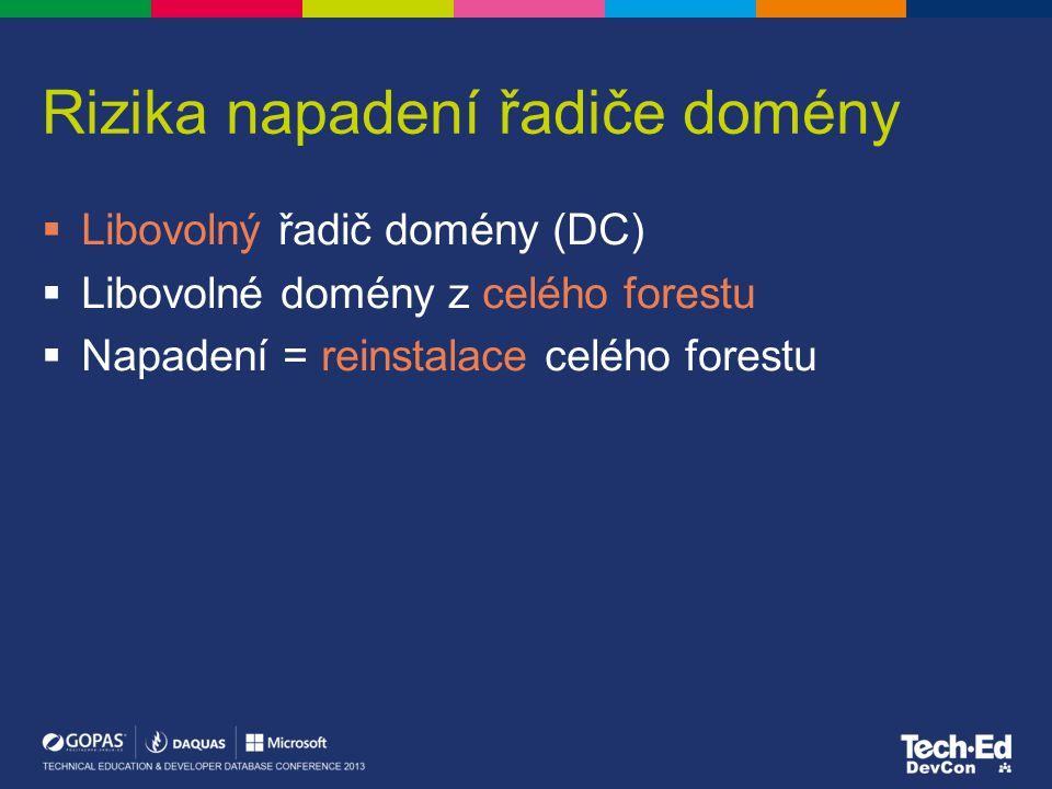 Rizika napadení řadiče domény  Libovolný řadič domény (DC)  Libovolné domény z celého forestu  Napadení = reinstalace celého forestu