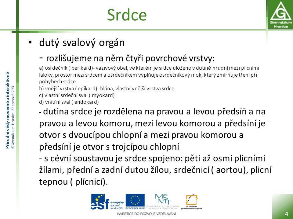 Přírodní vědy moderně a interaktivně ©Gymnázium Hranice, Zborovská 293 Srdce - schéma Schéma lidského srdce: 1.