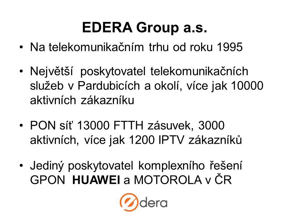 •Na telekomunikačním trhu od roku 1995 •Největší poskytovatel telekomunikačních služeb v Pardubicích a okolí, více jak 10000 aktivních zákazníku •PON