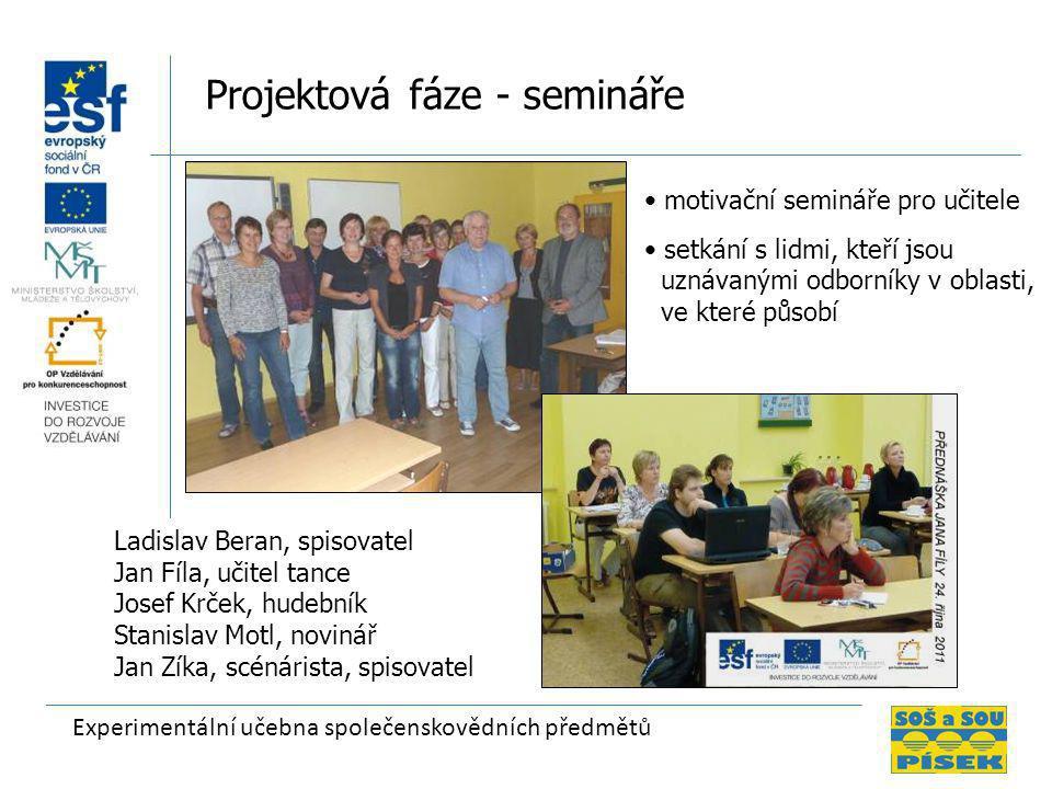 Experimentální učebna společenskovědních předmětů Projektová fáze - semináře • motivační semináře pro učitele • setkání s lidmi, kteří jsou uznávanými