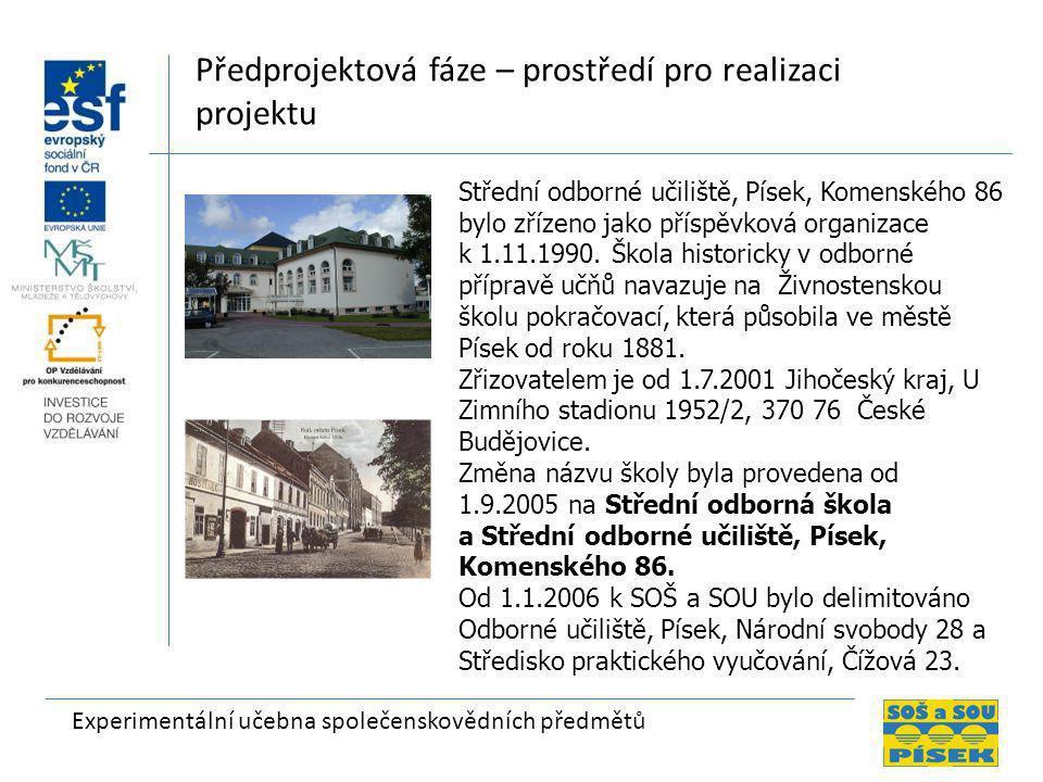 Experimentální učebna společenskovědních předmětů Předprojektová fáze – prostředí pro realizaci projektu Střední odborné učiliště, Písek, Komenského 86 bylo zřízeno jako příspěvková organizace k 1.11.1990.