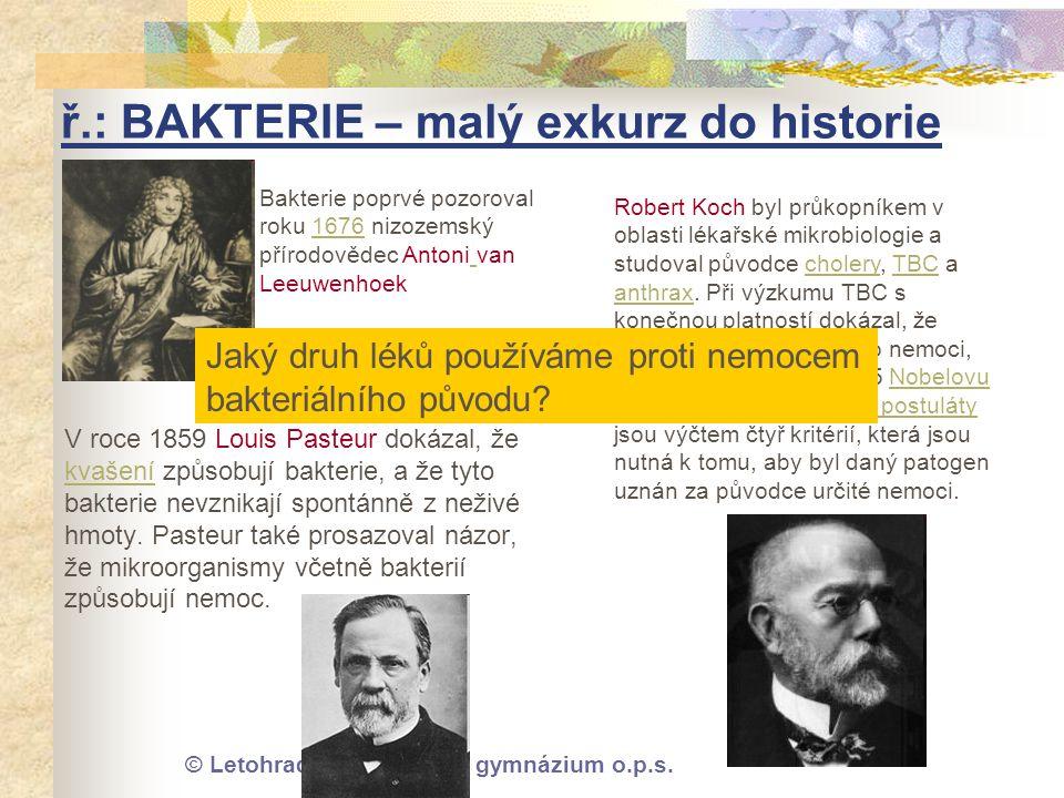 © Letohradské soukromé gymnázium o.p.s. ř.: BAKTERIE – malý exkurz do historie V roce 1859 Louis Pasteur dokázal, že kvašení způsobují bakterie, a že