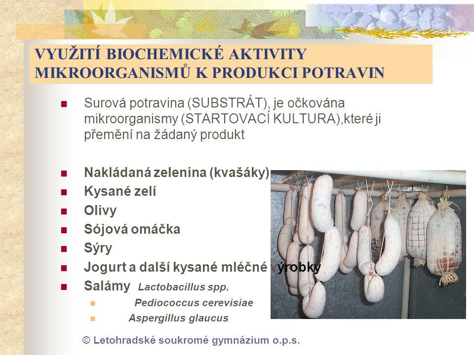 © Letohradské soukromé gymnázium o.p.s. VYUŽITÍ BIOCHEMICKÉ AKTIVITY MIKROORGANISMŮ K PRODUKCI POTRAVIN  Surová potravina (SUBSTRÁT), je očkována mik