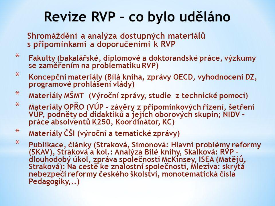 Revize RVP – co bylo uděláno Shromáždění a analýza dostupných materiálů s připomínkami a doporučeními k RVP * Fakulty (bakalářské, diplomové a doktora