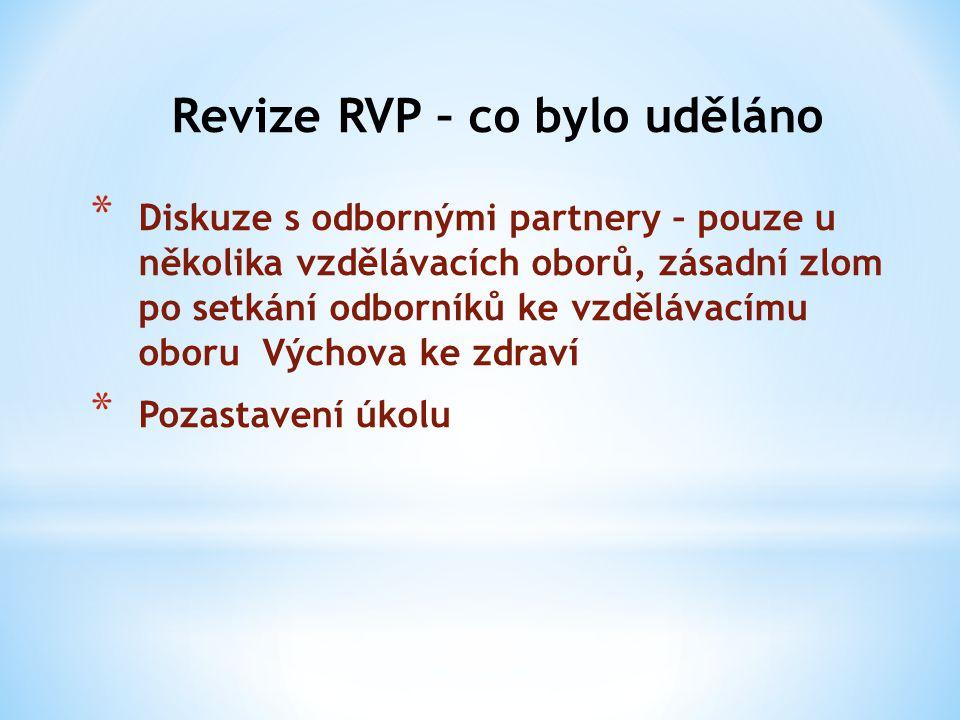 Revize RVP – co bylo uděláno * Diskuze s odbornými partnery – pouze u několika vzdělávacích oborů, zásadní zlom po setkání odborníků ke vzdělávacímu o