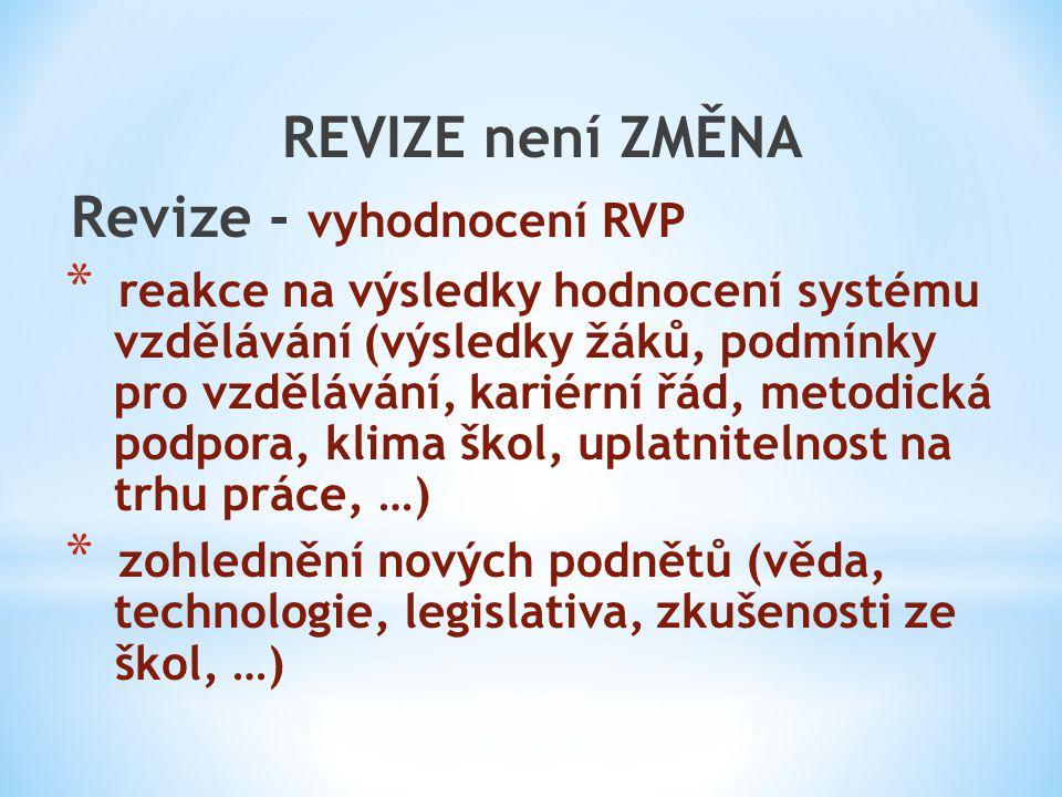 REVIZE není ZMĚNA Revize - vyhodnocení RVP * reakce na výsledky hodnocení systému vzdělávání (výsledky žáků, podmínky pro vzdělávání, kariérní řád, me