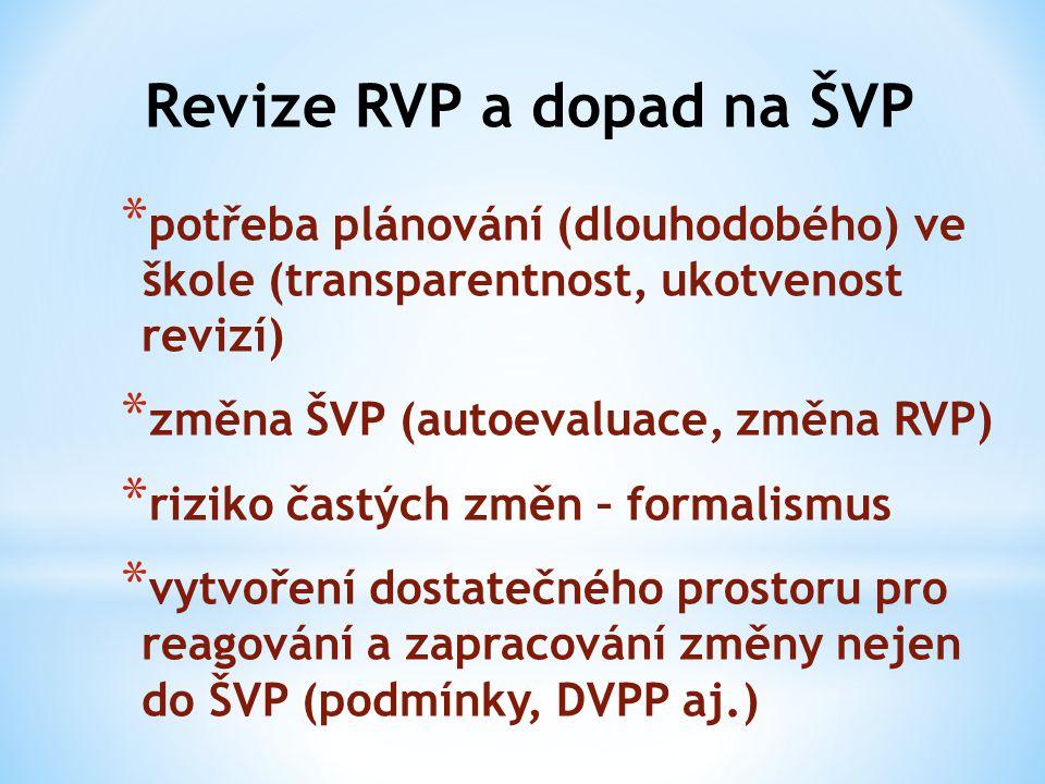 Revize RVP a dopad na ŠVP * potřeba plánování (dlouhodobého) ve škole (transparentnost, ukotvenost revizí) * změna ŠVP (autoevaluace, změna RVP) * riz