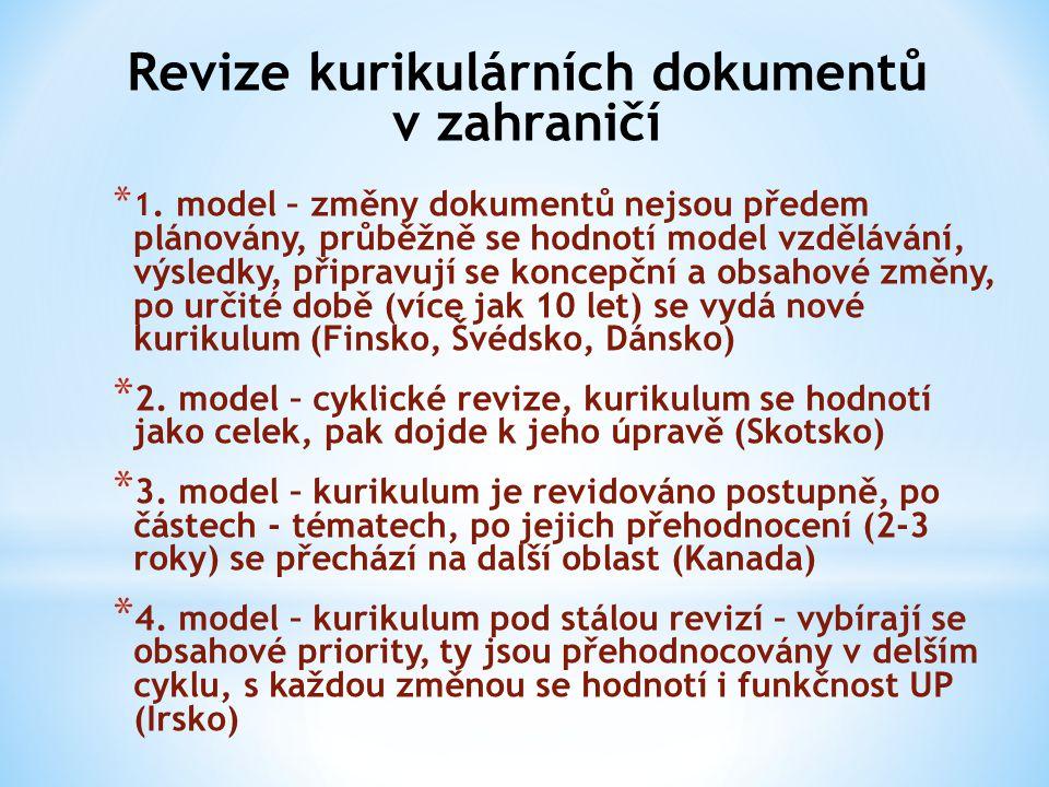 Revize kurikulárních dokumentů v zahraničí * 1. model – změny dokumentů nejsou předem plánovány, průběžně se hodnotí model vzdělávání, výsledky, připr