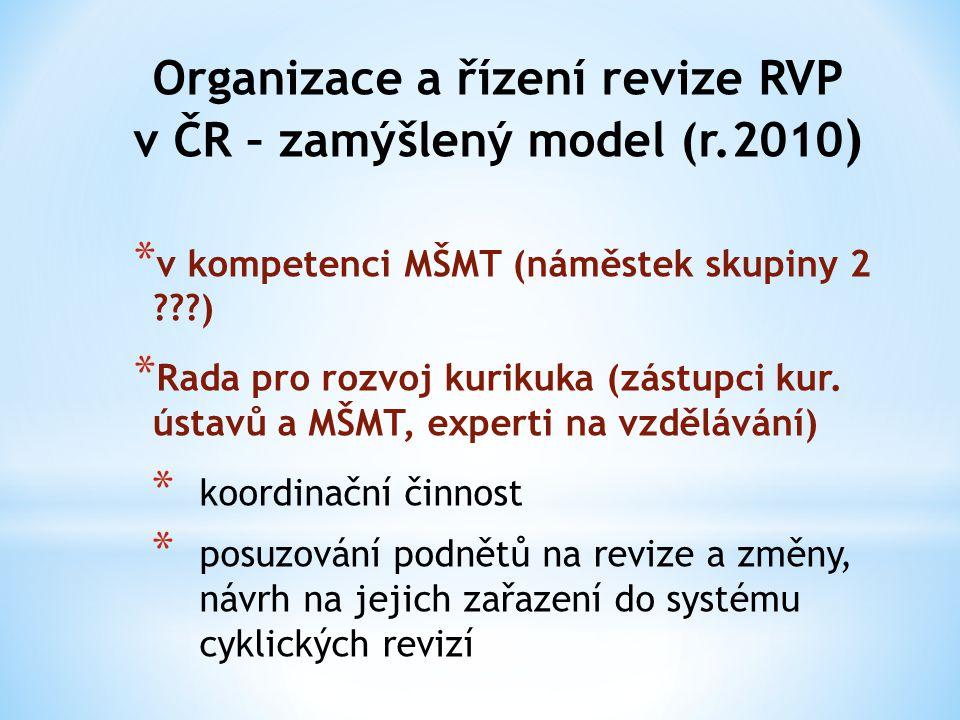 Organizace a řízení revize RVP v ČR – zamýšlený model (r.2010 ) * v kompetenci MŠMT (náměstek skupiny 2 ???) * Rada pro rozvoj kurikuka (zástupci kur.