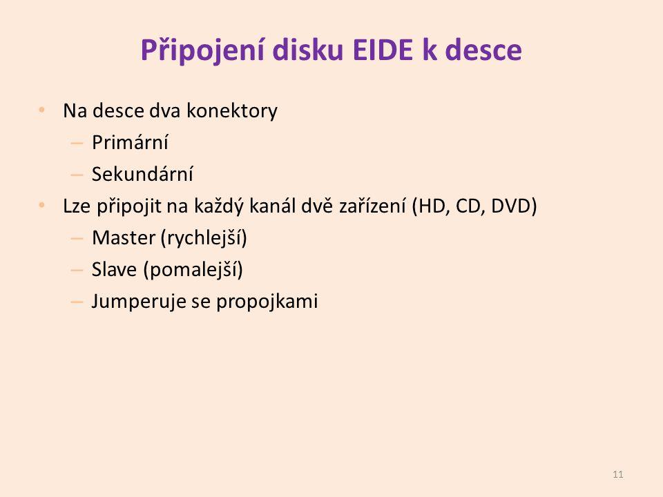 Připojení disku EIDE k desce • Na desce dva konektory – Primární – Sekundární • Lze připojit na každý kanál dvě zařízení (HD, CD, DVD) – Master (rychlejší) – Slave (pomalejší) – Jumperuje se propojkami 11