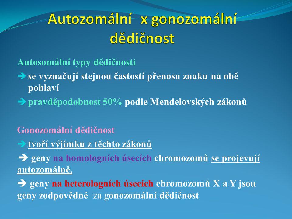 a) Somatické chromozomy = autozomy = homologní ( stejné ) páry = obsahují geny určující vlastnosti organismu b) Pohlavní chromozomy = gonozomy = heterochromozomy = X, Y  určují pohlaví  nesou i jiné geny pro jiné znaky  tvoří heterologní ( různé ) páry  liší se tvarem  geny ležící na gonozomech se dědí v závislosti na pohlaví  nacházejí se ve všech buňkách organizmu  nesou geny pro tvorbu pohlavních znaků a jiných genů  heterochromozom Y není párový a je označen jako ALOZOM