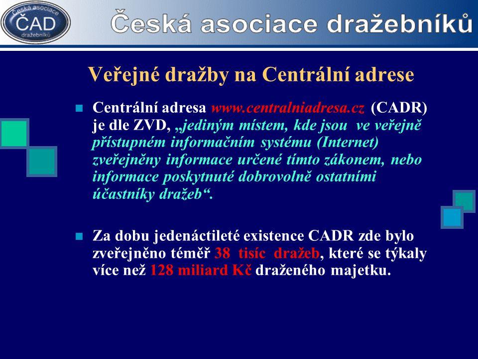 """Veřejné dražby na Centrální adrese  Centrální adresa www.centralniadresa.cz (CADR) je dle ZVD, """"jediným místem, kde jsou ve veřejně přístupném inform"""