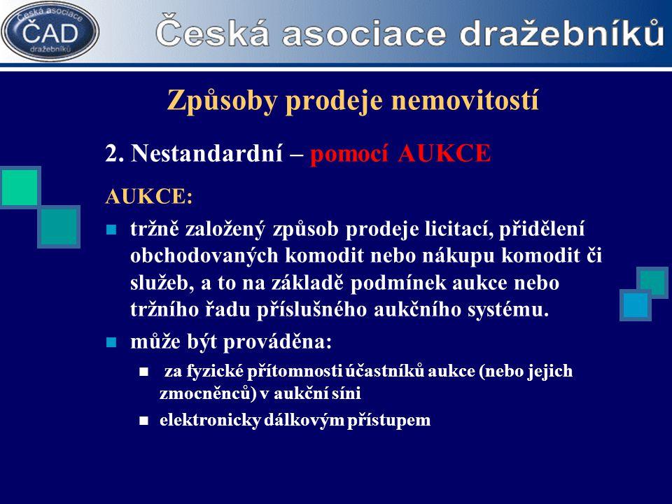 Způsoby prodeje nemovitostí 2. Nestandardní – pomocí AUKCE AUKCE:  tržně založený způsob prodeje licitací, přidělení obchodovaných komodit nebo nákup