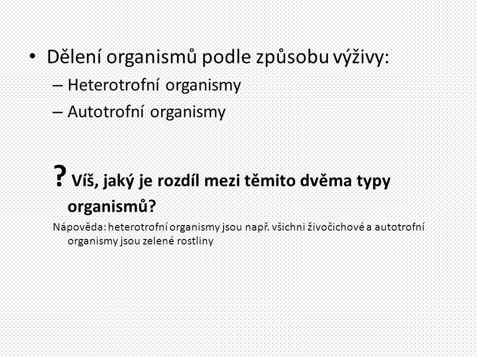 • Dělení organismů podle způsobu výživy: – Heterotrofní organismy – Autotrofní organismy .