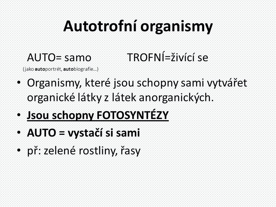 Autotrofní organismy AUTO= samo TROFNÍ=živící se (jako autoportrét, autobiografie…) • Organismy, které jsou schopny sami vytvářet organické látky z látek anorganických.