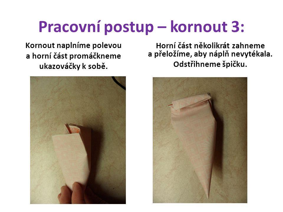 Pracovní postup – kornout 3: Kornout naplníme polevou a horní část promáčkneme ukazováčky k sobě.