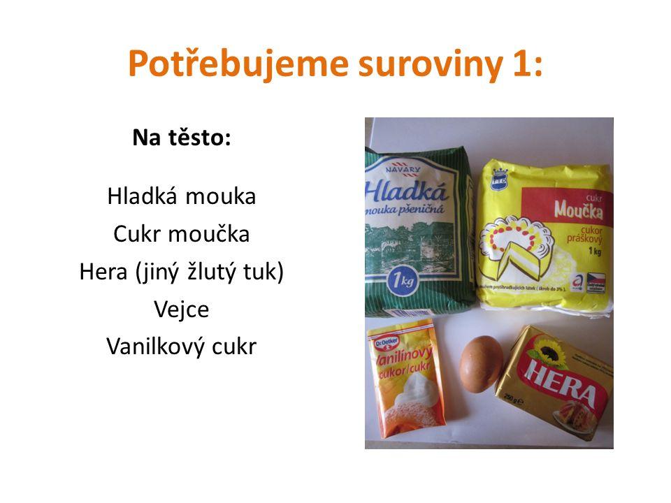 Potřebujeme suroviny 1: Na těsto: Hladká mouka Cukr moučka Hera (jiný žlutý tuk) Vejce Vanilkový cukr