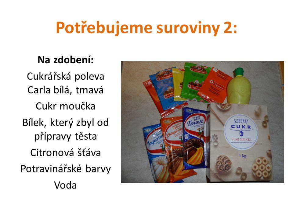 Potřebujeme suroviny 2: Na zdobení: Cukrářská poleva Carla bílá, tmavá Cukr moučka Bílek, který zbyl od přípravy těsta Citronová šťáva Potravinářské barvy Voda