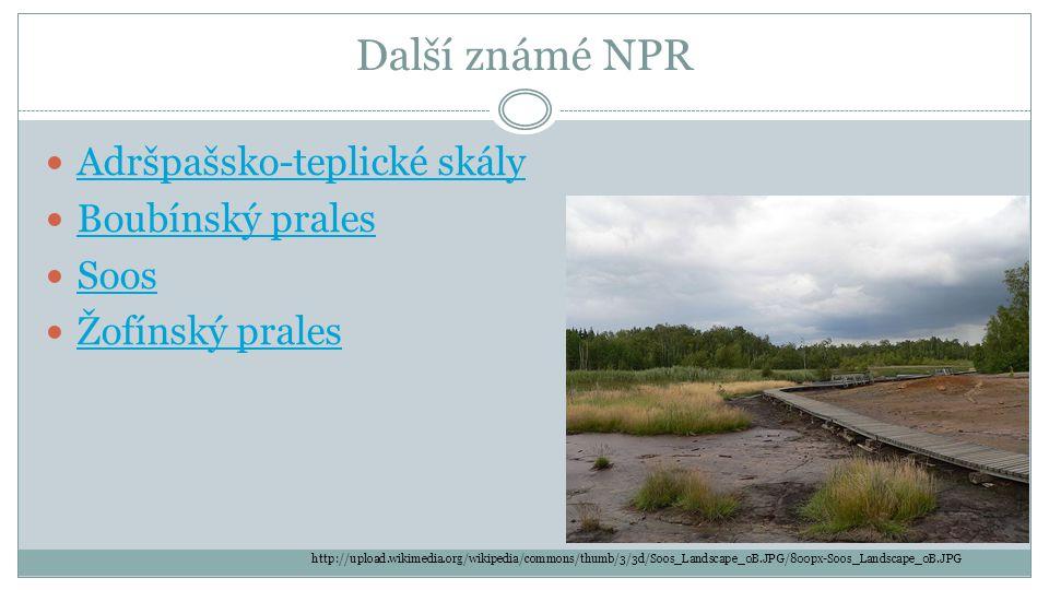 Další známé NPR  Adršpašsko-teplické skály Adršpašsko-teplické skály  Boubínský prales Boubínský prales  Soos Soos  Žofínský prales Žofínský prale