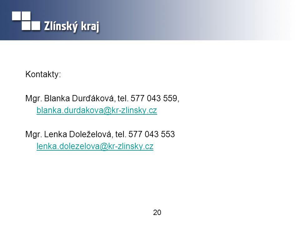 20 Kontakty: Mgr. Blanka Durďáková, tel. 577 043 559, blanka.durdakova@kr-zlinsky.cz Mgr. Lenka Doleželová, tel. 577 043 553 lenka.dolezelova@kr-zlins