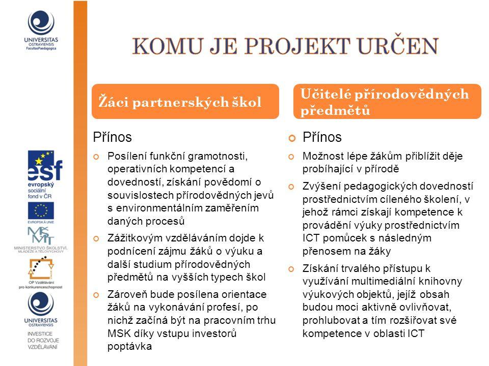 Přínos Posílení funkční gramotnosti, operativních kompetencí a dovedností, získání povědomí o souvislostech přírodovědných jevů s environmentálním zam