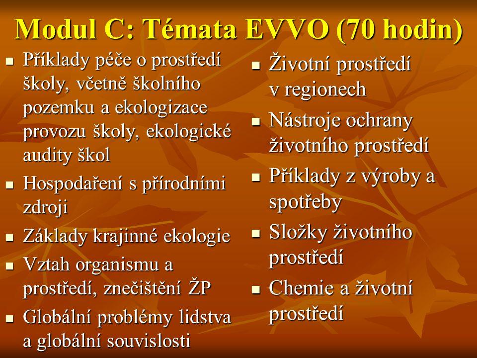 Modul C: Témata EVVO (70 hodin)  Příklady péče o prostředí školy, včetně školního pozemku a ekologizace provozu školy, ekologické audity škol  Hospo