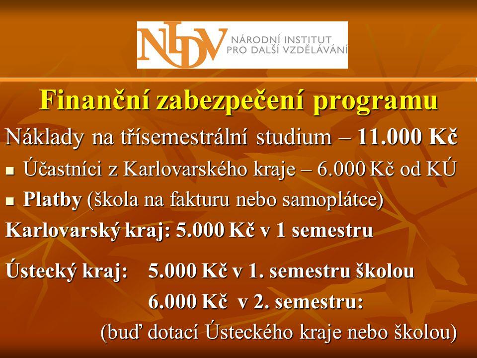 Finanční zabezpečení programu Náklady na třísemestrální studium – 11.000 Kč  Účastníci z Karlovarského kraje – 6.000 Kč od KÚ  Platby (škola na fakt
