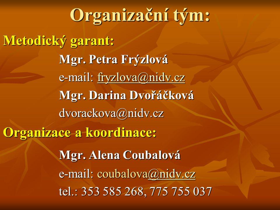 Organizační tým: Metodický garant: Mgr. Petra Frýzlová e-mail: fryzlova@nidv.cz fryzlova@nidv.cz Mgr. Darina Dvořáčková dvorackova@nidv.cz Organizace