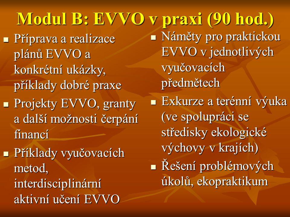 Modul B: EVVO v praxi (90 hod.)  Příprava a realizace plánů EVVO a konkrétní ukázky, příklady dobré praxe  Projekty EVVO, granty a další možnosti če
