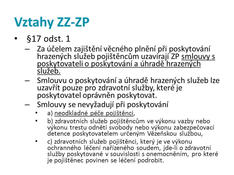 Vztahy ZZ-ZP • §17 odst. 1 – Za účelem zajištění věcného plnění při poskytování hrazených služeb pojištěncům uzavírají ZP smlouvy s poskytovateli o po