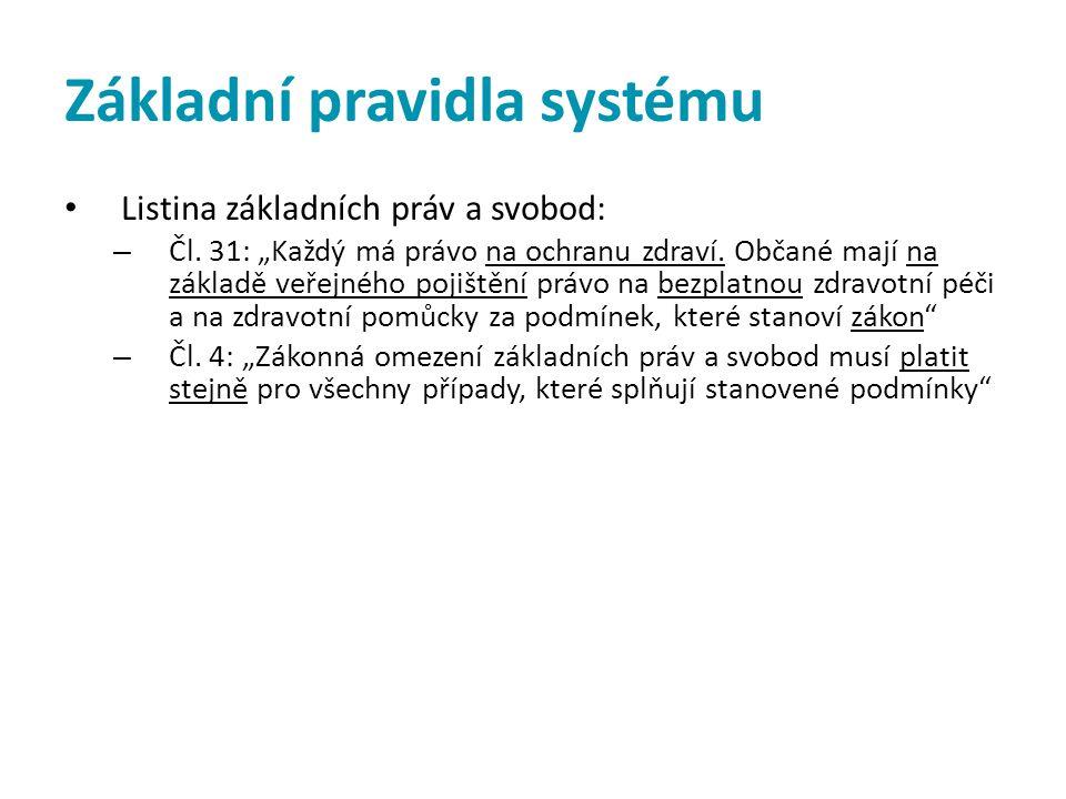 """Základní pravidla systému • Listina základních práv a svobod: – Čl. 31: """"Každý má právo na ochranu zdraví. Občané mají na základě veřejného pojištění"""
