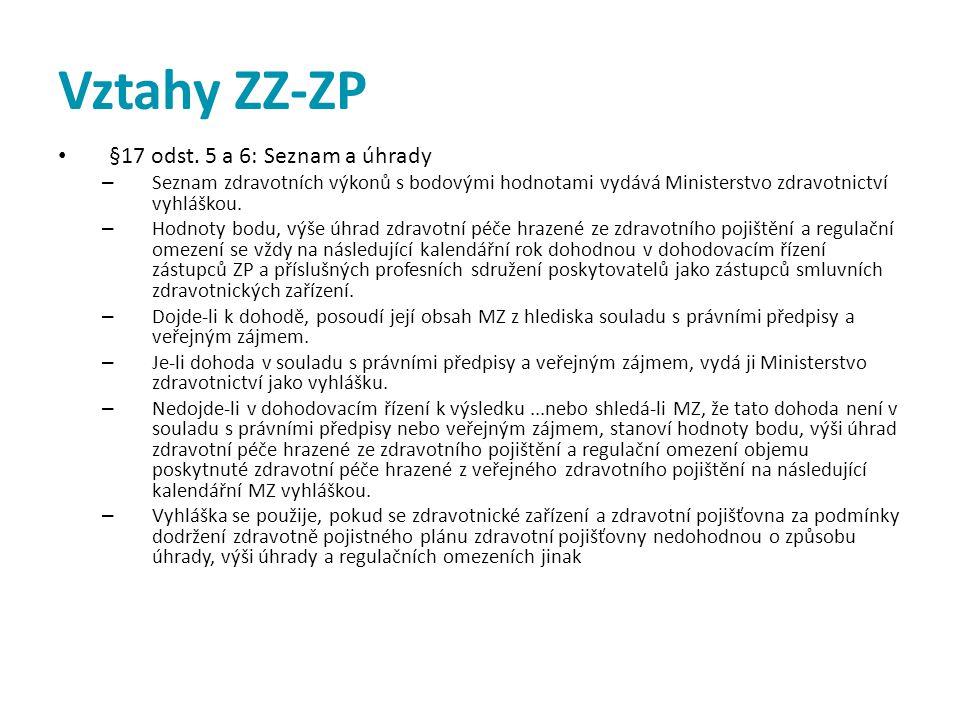 Vztahy ZZ-ZP • §17 odst. 5 a 6: Seznam a úhrady – Seznam zdravotních výkonů s bodovými hodnotami vydává Ministerstvo zdravotnictví vyhláškou. – Hodnot