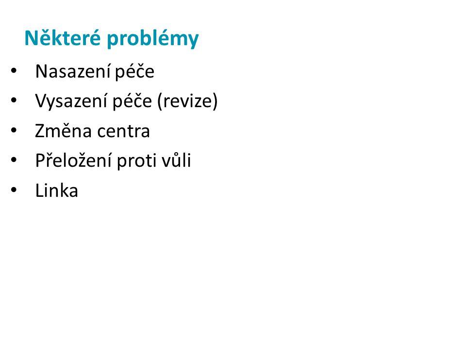 Některé problémy • Nasazení péče • Vysazení péče (revize) • Změna centra • Přeložení proti vůli • Linka