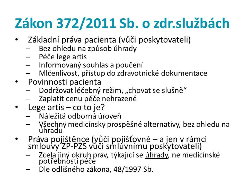 Zákon 372/2011 Sb. o zdr.službách • Základní práva pacienta (vůči poskytovateli) – Bez ohledu na způsob úhrady – Péče lege artis – Informovaný souhlas