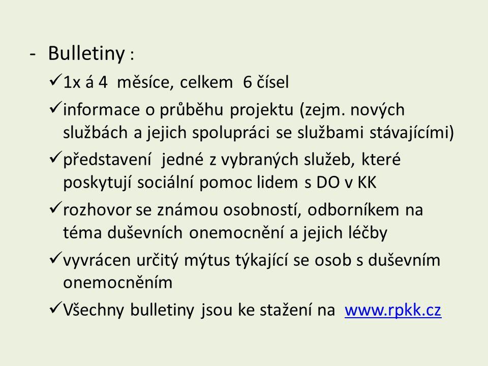 -Bulletiny :  1x á 4 měsíce, celkem 6 čísel  informace o průběhu projektu (zejm. nových službách a jejich spolupráci se službami stávajícími)  před