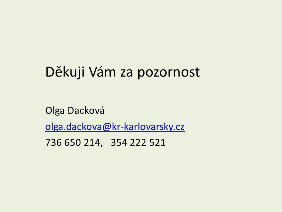 Děkuji Vám za pozornost Olga Dacková olga.dackova@kr-karlovarsky.cz 736 650 214, 354 222 521