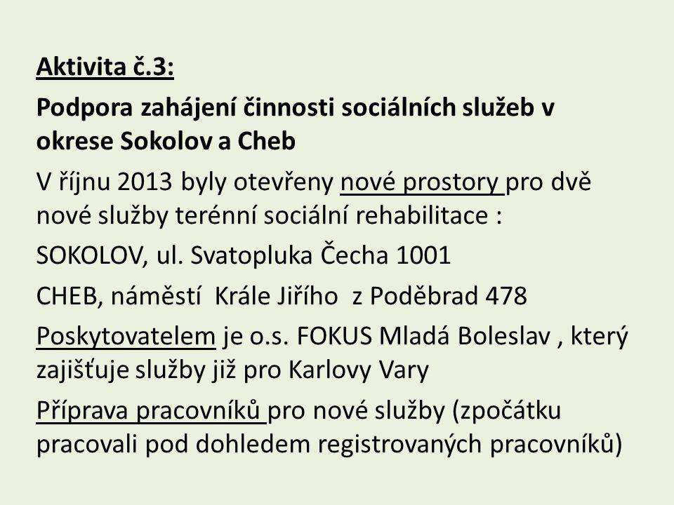 Aktivita č.3: Podpora zahájení činnosti sociálních služeb v okrese Sokolov a Cheb V říjnu 2013 byly otevřeny nové prostory pro dvě nové služby terénní