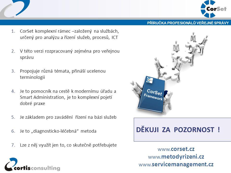 PŘÍRUČKA PROFESIONÁLŮ VEŘEJNÉ SPRÁVY DĚKUJI ZA POZORNOST ! 1.CorSet komplexní rámec –založený na službách, určený pro analýzu a řízení služeb, procesů