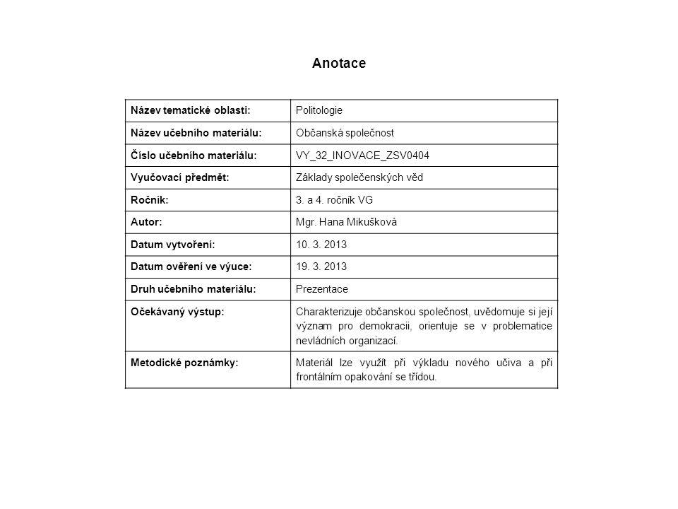 Anotace Název tematické oblasti: Politologie Název učebního materiálu: Občanská společnost Číslo učebního materiálu: VY_32_INOVACE_ZSV0404 Vyučovací předmět: Základy společenských věd Ročník: 3.