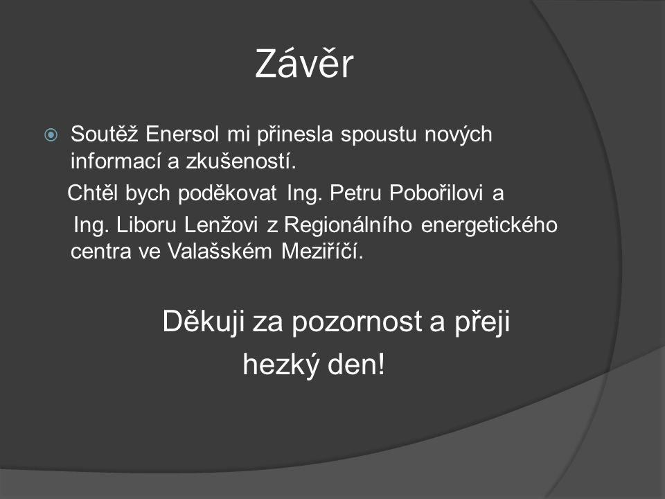 Závěr  Soutěž Enersol mi přinesla spoustu nových informací a zkušeností. Chtěl bych poděkovat Ing. Petru Pobořilovi a Ing. Liboru Lenžovi z Regionáln