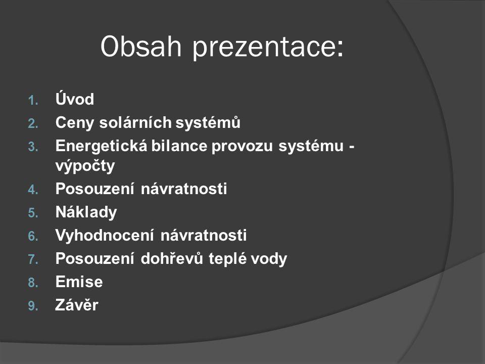 Obsah prezentace: 1. Úvod 2. Ceny solárních systémů 3. Energetická bilance provozu systému - výpočty 4. Posouzení návratnosti 5. Náklady 6. Vyhodnocen