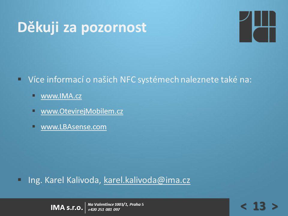 Na Valentince 1003/1, Praha 5 +420 251 081 097 IMA s.r.o. Děkuji za pozornost  Více informací o našich NFC systémech naleznete také na:  www.IMA.cz