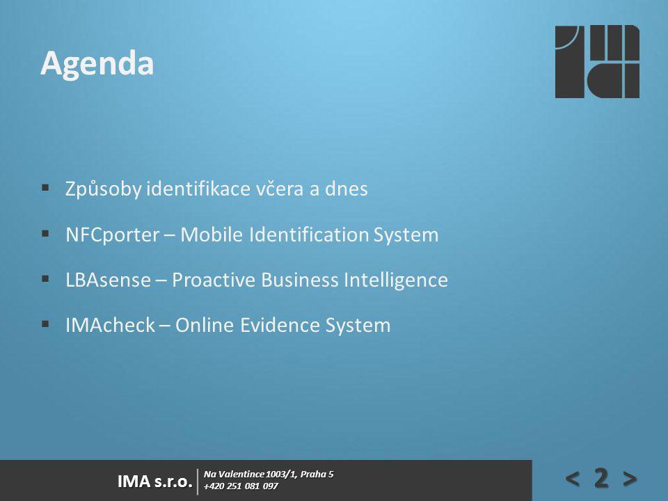Na Valentince 1003/1, Praha 5 +420 251 081 097 IMA s.r.o. Agenda  Způsoby identifikace včera a dnes  NFCporter – Mobile Identification System  LBAs